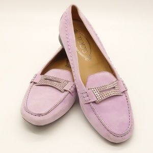TOD'S Light Purple Suede Jewel Driving Loafers